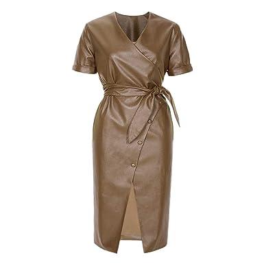 3dc11c14a638 Mint Limit Women Faux Leather Bodycon Dress Sexy Skinny Short Sleeve Midi  Dresses Khaki