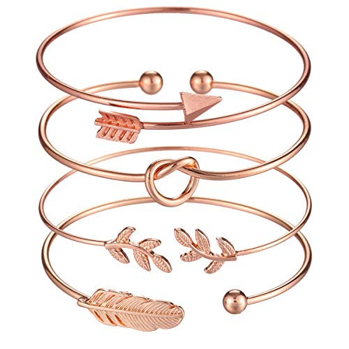Starain 4Pcs Rose Gold Bangle for Women Simple Olive Leaf|Arrow|Feather|Knot Heart Adjustable Cuff Bracelet Set (Under Rose Gold 10 Necklace)