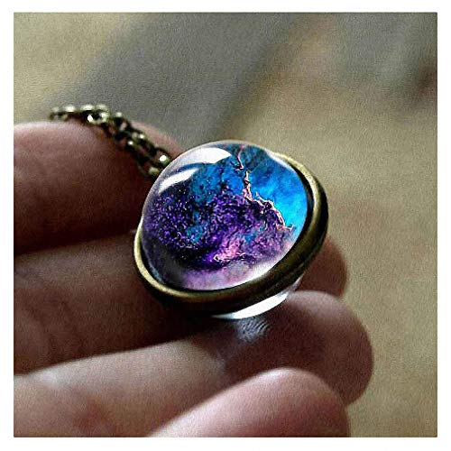 Womens Pendant Necklaces New Nebula Galaxy Double Sided Pendant Outer Space Necklace Universe Silver Jewelry Glass Art Picture Handmade Necklace - Bracelet Glass Pendant