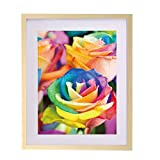 Fastnova 16x20 inch Real Solid Wood Picture Photo Poster Print Art Frame Made to Display Picture 12x16 with Mat or 16x20 Without Mat, Wall Mounting Material Included
