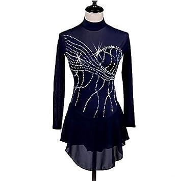 XINYUANJIAFANG Vestido De Patinaje Artístico Mujer Patinaje Sobre Hielo Vestidos Azul Marino Oscuro Ropa De Patinaje