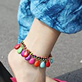 usongs India Nepal and Thailand national wind hand-woven red string Bohemia retro color bell Foot Chain anklet ankle chain