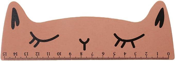 Lamdoo Kawaii - Regla Recta de Madera para Gatos con Dibujos Animados, Madera, Naranja, 16cmx6cm/6.30inx2.36in: Amazon.es: Hogar