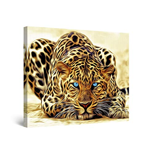 STARTONIGHT Canvas Wall Art Leopard – Animals Framed 32 x 32 Inches