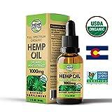 #1 USDA Organic Full Spectrum Hemp Oil Extract with Organic Mint :: 1000 mg :: Pain Relief, Anti-Inflammatory, Anti-Anxiety, Sleep Aid :: Non-GMO Project Verified :: 1 Month Supply