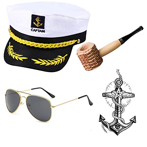 Yacht Captain & Sailor Costume Accessories Set - Hat,Corn Cob Pipe,Aviator Sunglasses,Vintage Anchor Temporary Tattoo (OneSize, C4) -