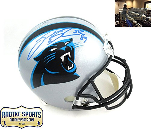 Steve Smith Sr Autographed/Signed Carolina Panthers Riddell Current Full Size NFL Helmet ()