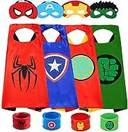 Capa de superhéroe y máscara para niños, compatible con superhéroes, disfraces, disfraces, mejores regalos, 4