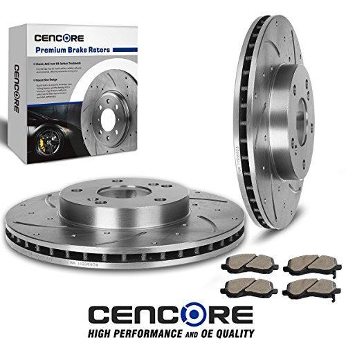 CENCORE  Brake Kit with 2pcs Drilled Slotted Brake Rotors &
