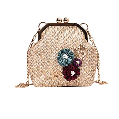 (Womens Fashion Retro Straw Portable Small Bag Woven Chain Strap Hasp Floral Crossbody Bag Shoulder Messenger Satchel SIN+MON)
