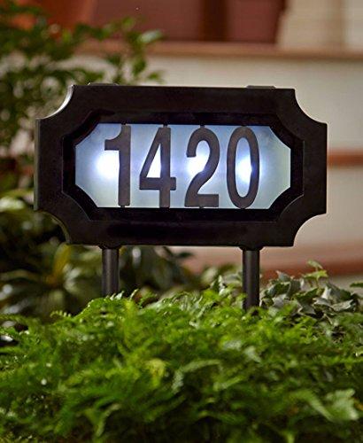 [해외]태양 빛이 나는 주소 표시 스테이크 플라크 하우스 번호 표시기 LED 새벽에 황혼/Solar Lighted Address Sign Stake Plaque House Number Marker LED Dusk to Dawn