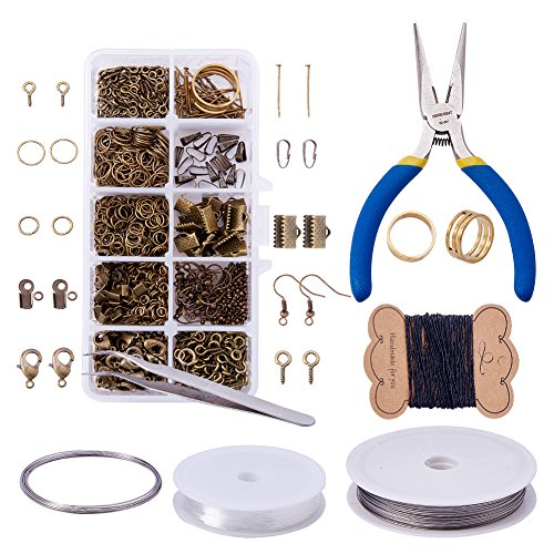 Pandahall Elite Jewelry Making Kit Jewelry Findings Starter Kit Jewelry Beading Making and Repair Tools Kit Jewelry Findings Accessories Pliers Wire Starter Tool,Antique - Necklace Earrings Brass