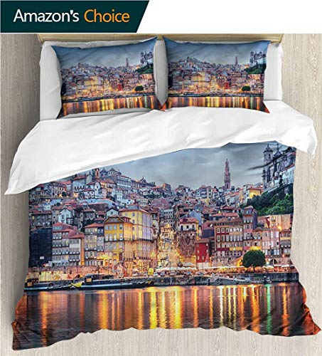 (VROSELV-HOME Full/Queen Size Quilt Bedding Set,Box Stitched,Soft,Breathable,Hypoallergenic,Fade Resistant Kids Bedding -Double Brushed Microfiber -European Cityscape River in Porto (79