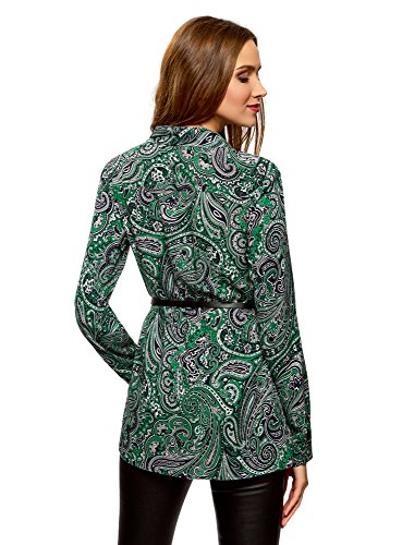 viscosa cintura Oodji Collection tunica stampata con verde7962e donna in thdsxBoQrC