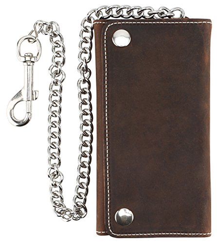 - Men's Tri-fold Vintage Long Style Cow Top Grain Leather Steel Chain Wallet,Made In USA,Snap closure,Antique crazy horse brown,dc339