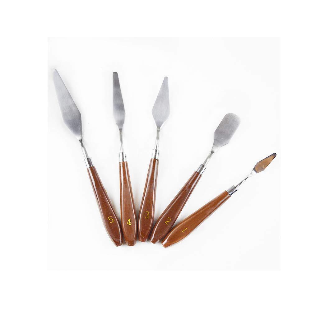 Aofocy Dipingere spatola Olio spatola Coltello in Acciaio Inox e Manico in Legno dipingere Arte per Olio su Tela Pittura acrilica Set 5 Pezzi