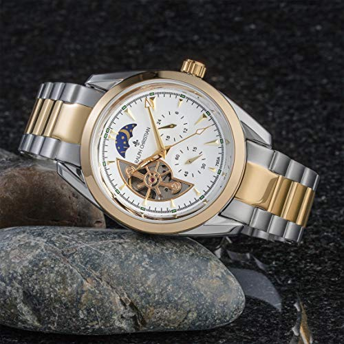 RALPH CHRISTIAN Men's Luxury Wrist Watch - Gold & Steel Two-Tone Skeleton Style - Zurich - Automatic Timepiece, Analog Dial, Self Winding Mechanical Movement & Waterproof
