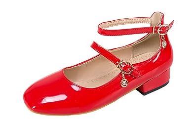 AgooLar Damen Niedriger Absatz Rein Schließen Zehe Ziehen auf Stiefel, Rot, 36