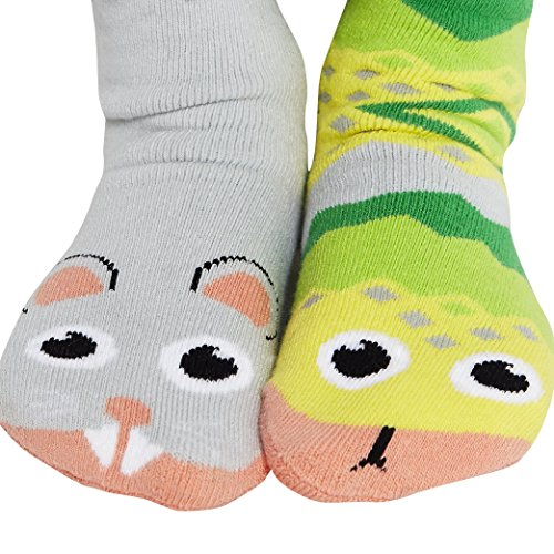 Silly Safari Bus (Kids Mouse and Snake No-Skid Mismatched Animal Friends Socks Ages 4-8)