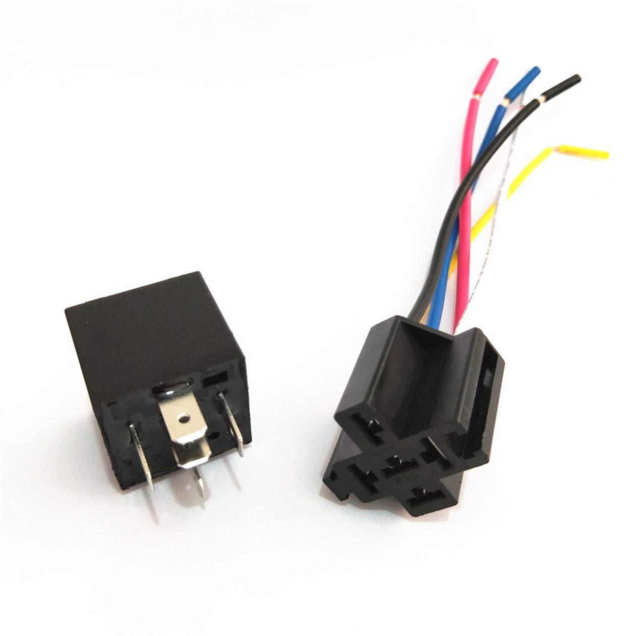 Rel/è automatici per auto DC12V 40A Presa per auto integrata impermeabile a 4 pin per molte applicazioni elettroniche per auto colore: nero