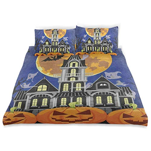 OSBLI Bedding Duvet Cover Set 3 Pieces Halloween Castle Pumpkin Ghost Bat Full Moon Bed Sheets Sets and 2 Pillowcase for Teens]()