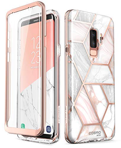 (i-Blason Cosmo Full-Body Glitter Clear Bumper Case for Galaxy S9 Plus 2018 Release, Marble)