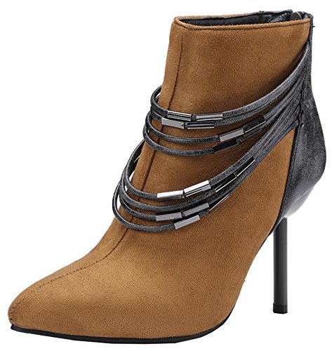 Brown Zip Pointed Stylish IDIFU Stiletto Up Short Faux Ankle Boots Toe High Womens Suede qOnqfw6R