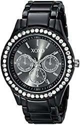 XOXO Women's XO5403  Black Enamel Bracelet With Rhinestones Accent Watch