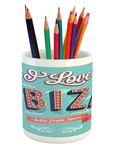 Lunarable Ibiza Pencil Pen Holder, Hello from Spain Quote on Stripe Background Tropical Holiday Islands, Printed Ceramic Pencil Pen Holder for Desk Office Accessory, Pale Blue Dark Coral Yellow by Lunarable