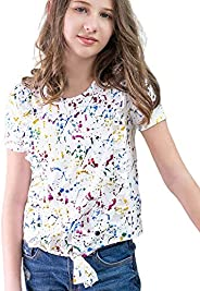 AS ROSE RICH Girls' Short Sleeve T-Shirt 7-16 Ruffle Tie Front Tee Shirt for Canada Ma