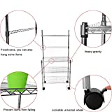 Iusun 3-Tier Four-Wheel Storage Rack Multi-function Shelves Unit Metal Durable Shelving Microwave Oven Holder Wheeled Trolley Pantry Closet Kitchen Laundry Organization - Shipping From USA (Silver)