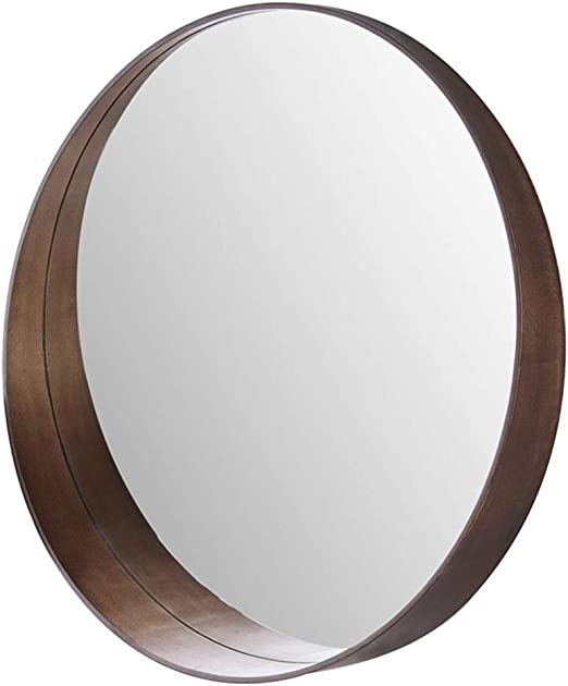 Amazon Com Qaryyq Mirror Wooden Round Wall Mirror W Brown Wood Frame Can Be Placed 50 Cm Round Wall Mirror Home Kitchen
