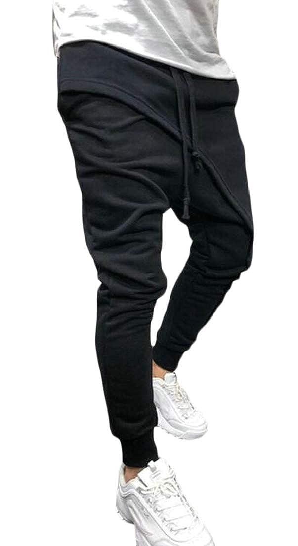 Blyent Men Drawstring Relaxed Elastic Waist Stretch Irregular Jogger Pants