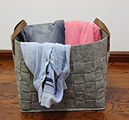 Woven Felt Storage Basket, LOONG BABY Large Natural Soft Laundry Hamper, Handmade Home Storage Boxes with PU Handle for organizing Baby Kids Toys, Clothing(Grey)