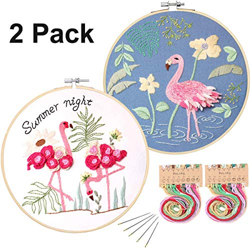 Konrisa 2 Pack Full Range of Embroidery Starter Kit with Flamingo Pattern Floral Stamped Embroidery Kit for Beginners Adults Cross Stitch Kit with Embroidery Hoops, Cloth,Needle,Color Thread Tools Kit