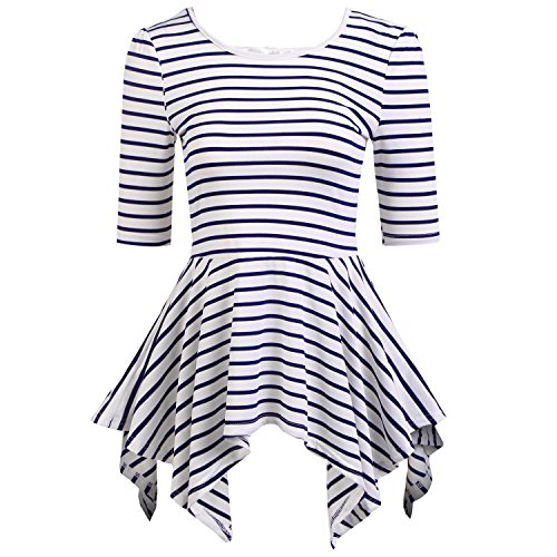 Meaneor T shirt Sleeves Striped Blouses product image