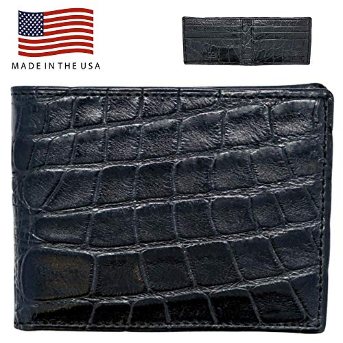 (Black Genuine Alligator Skin Wallet RFID Blocking - Alligator Inside and Out RARE - Factory Direct - Made in USA)