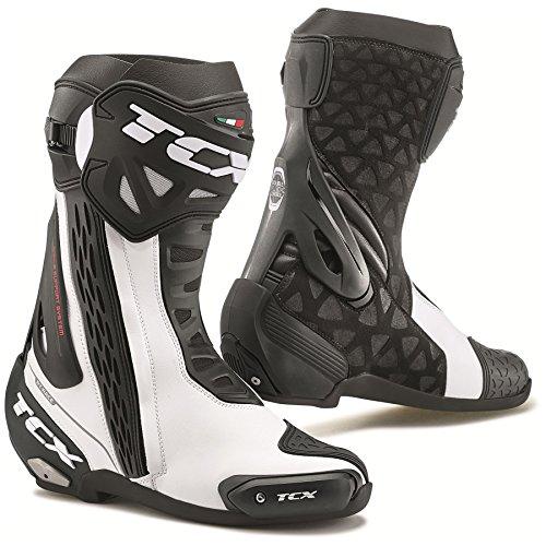 Street Motorcycle Boots White/Black EU45/US11 (More Size Options) (Magnesium Toe Slider)