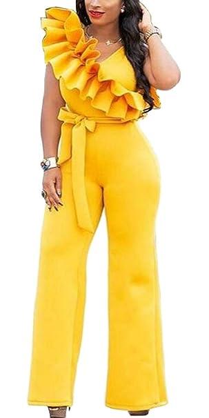 35f44e771b2c Generic Womens Sleeveless Ruffle Casual Wide Leg Prom Overalls Jumpsuit  with Belt Yellow XS