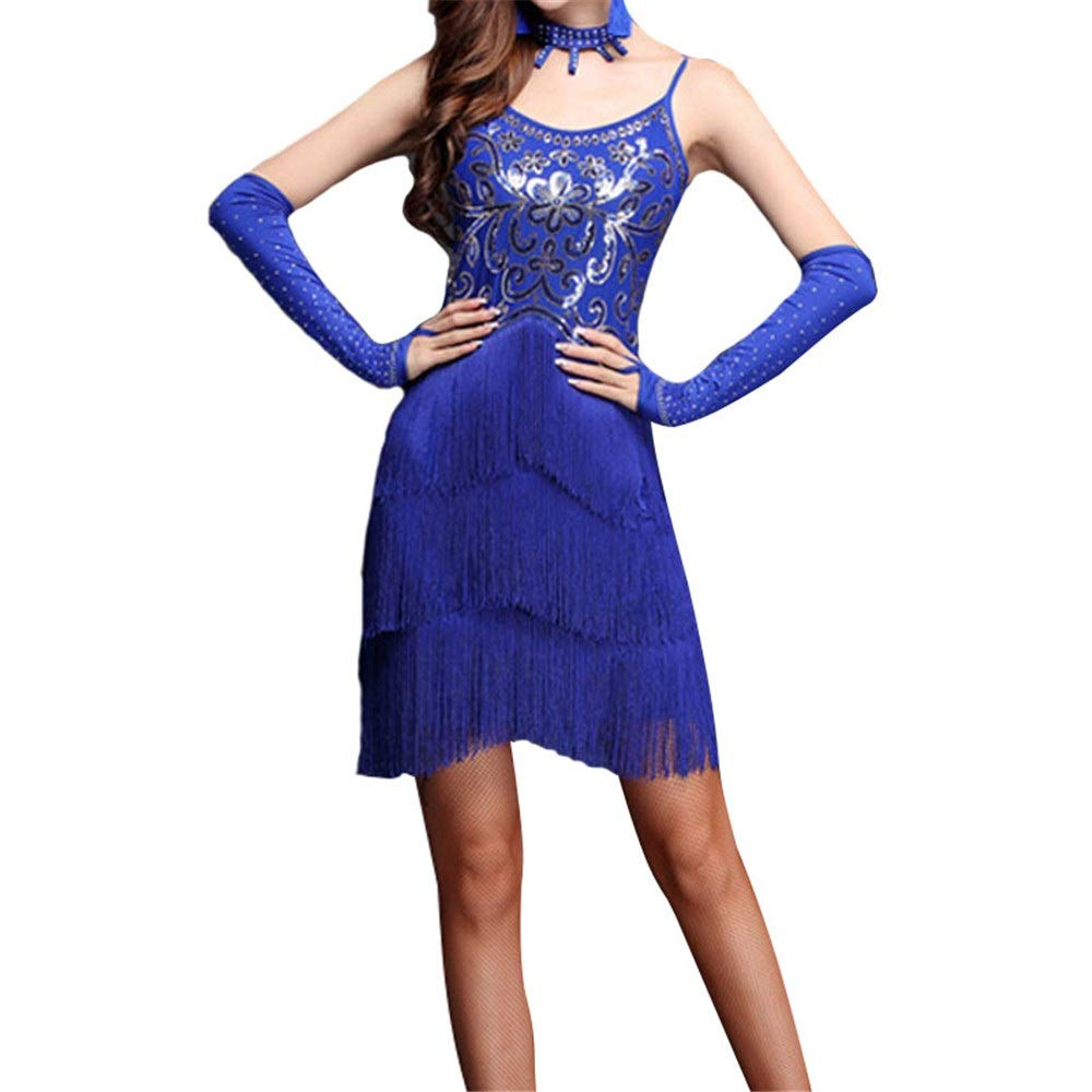 Royal bleu X-grand Robe perforhommece femme Femmes Mousseux Sequin Frange Flapper Robe De Danse Latine Sans Manches Moulante Tassel Danse De Salon Robe De Soirée Compétition Perforhommece VêteHommests De Danse Costume Jupe de