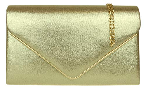 Plain Metallic Bag peach Gold Evening Envelope Frame Design Suede Faux Girly Handbags Clutch p8CRq