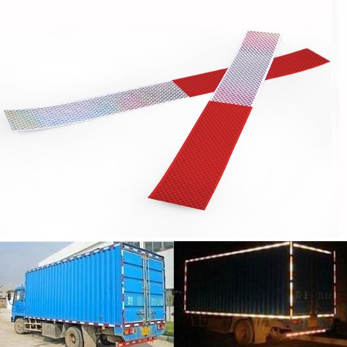Red & Silver Caution Reflective Strip Tape Sticker Universal For Car Motorcycle