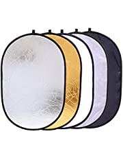 5 in 1 Oval Light Reflector 24 x 35 inch (60 x 90cm) Portable Collapsible Photography Studio Photo Camera Lighting Reflectors/Diffuser Kit with Carrying Case