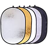 "5-in-1 Reflector Photography 35"" x 47"" Photo Studio Portable Collapsible Oval Large Light Reflectors/Diffuser Accessories Kit Carrying Case Outdoor Camera Vedio Lighting"