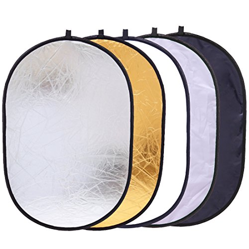 5-in-1 Oval Light Reflector 35 x 47 inch (90 x 120cm) Portable Collapsible Photography Studio Photo Camera Lighting Reflectors/Diffuser Kit with Carrying Case (Panel Reflector)