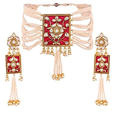 I Jewels Pearl & Kundan Necklace Choker with Earrings