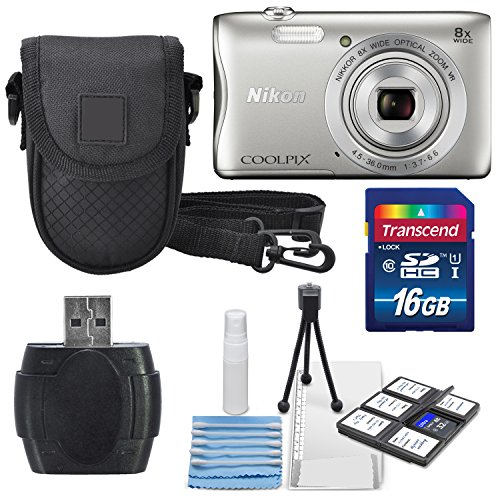 Nikon COOLPIX S3700 Wi- Fi enabled Digital Camera with 8x Optical Zoom (Silver) +16 GB Memory Card + Card Reader/Writer + Mini Table Tripod Along With a Deluxe Accessory Bundle by Nikon
