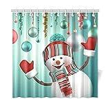 Shower Curtain Company Merry Christmas Snowman 72 x 72 inch Waterproof Polyester Fabric Bathroom Shower Curtain- Bathroom Decor