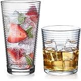 Gift Essentials Glassware Set - Set of 8-Piece Tumbler and Rocks Glass Set - Includes 4 Cooler Glasses (17oz) and 4 Rocks Gla