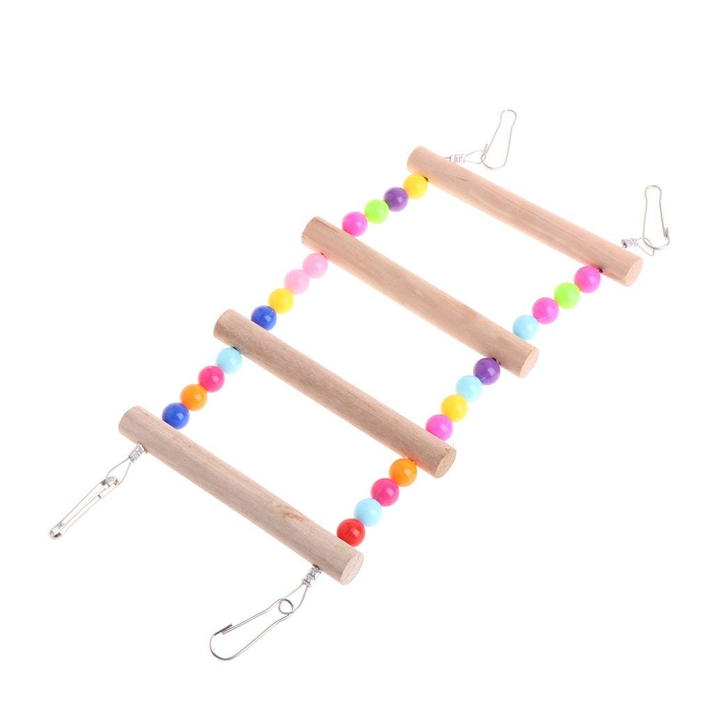 Birds Pets Parrots Ladders Climbing Toy Hanging Colorful Balls With Natural Wood Premium Quality by Yevison